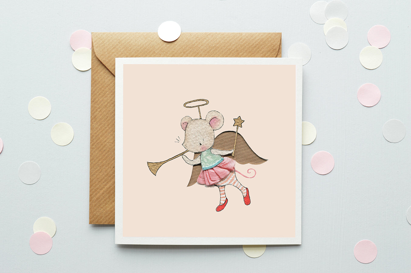 Girl's Angel Mouse Christmas Greetings Card