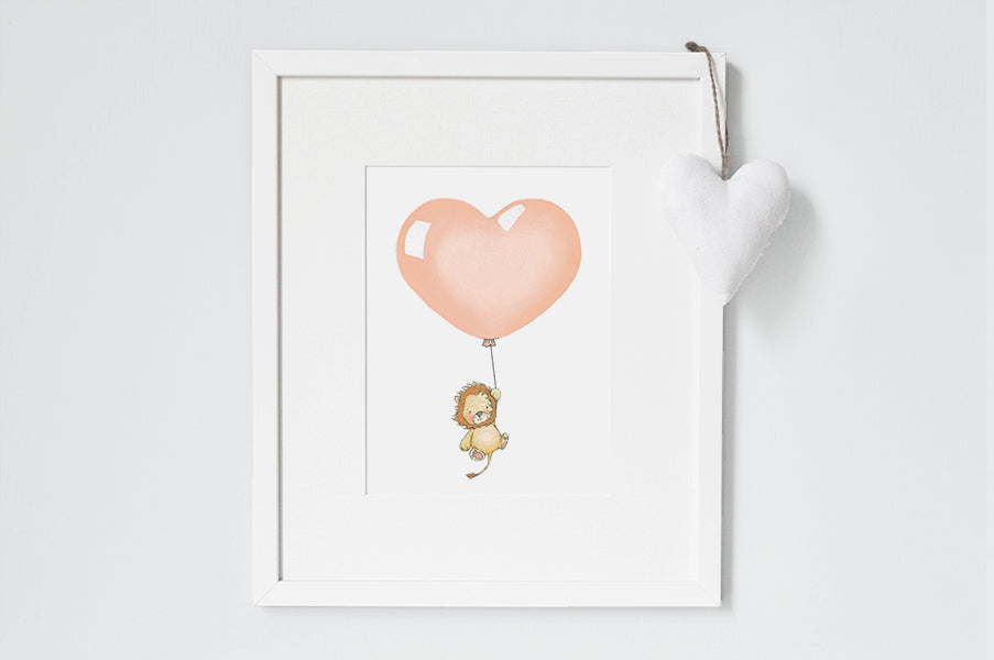Children's Apricot Heart Balloon Picture