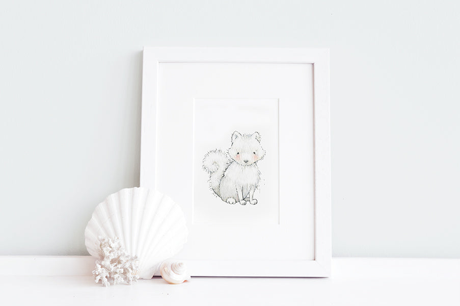 Newborn Baby Arctic Fox Nursery Art Print