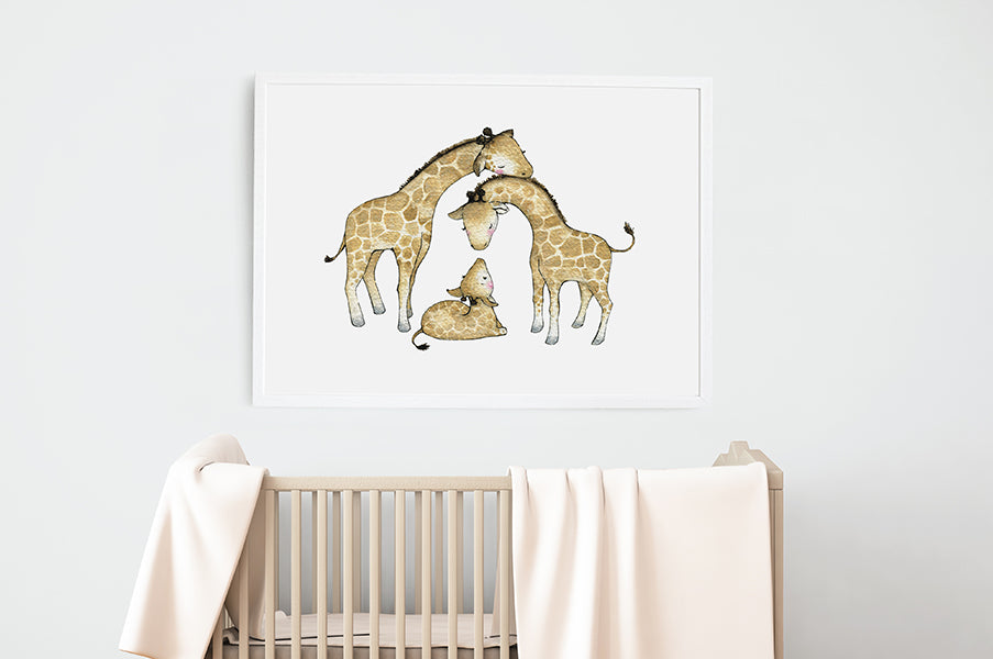 Children's Big Giraffe Family Wall Art Print