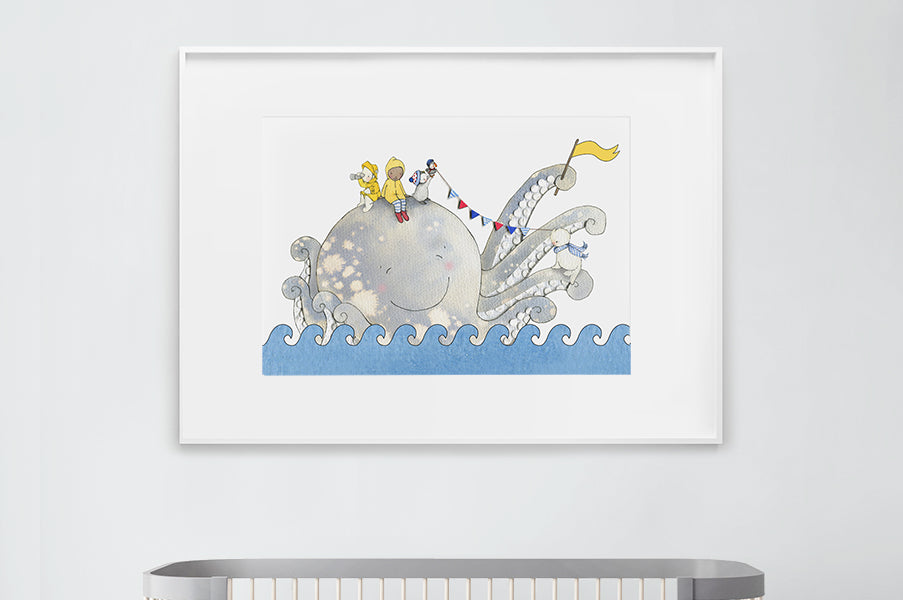 Big Octopus Print for a Baby Boy Nautical Nursery
