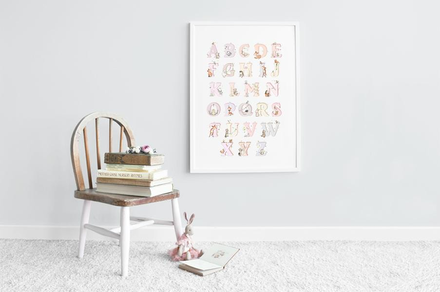 Big Pink Woodland Alphabet Picture for Girl's Room