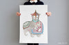 Girl's Royal Elephant and Rabbit Big Wall Print