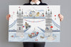 Big Personalised Tower Bridge Nursery Art Print
