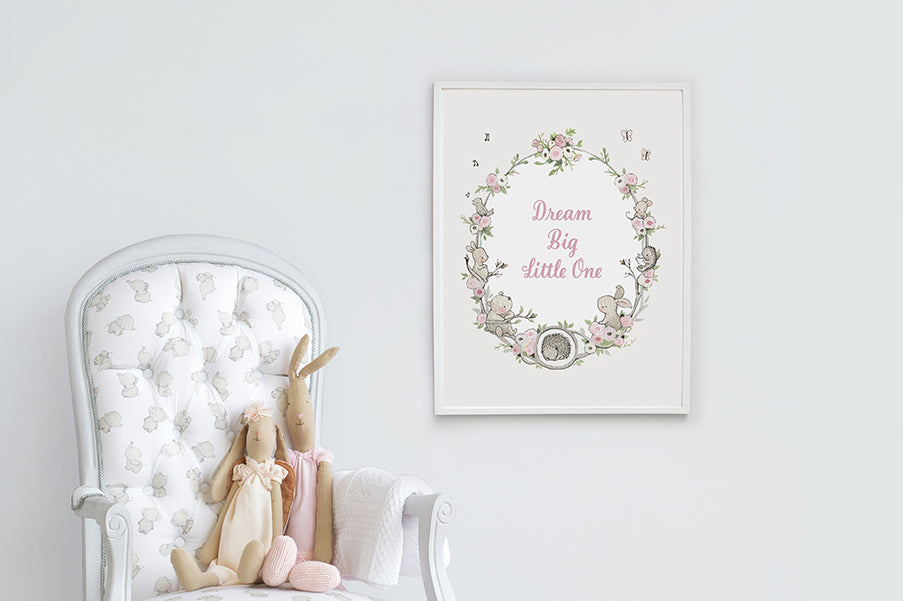 Girl's Big Floral Garden Wreath Quote Print