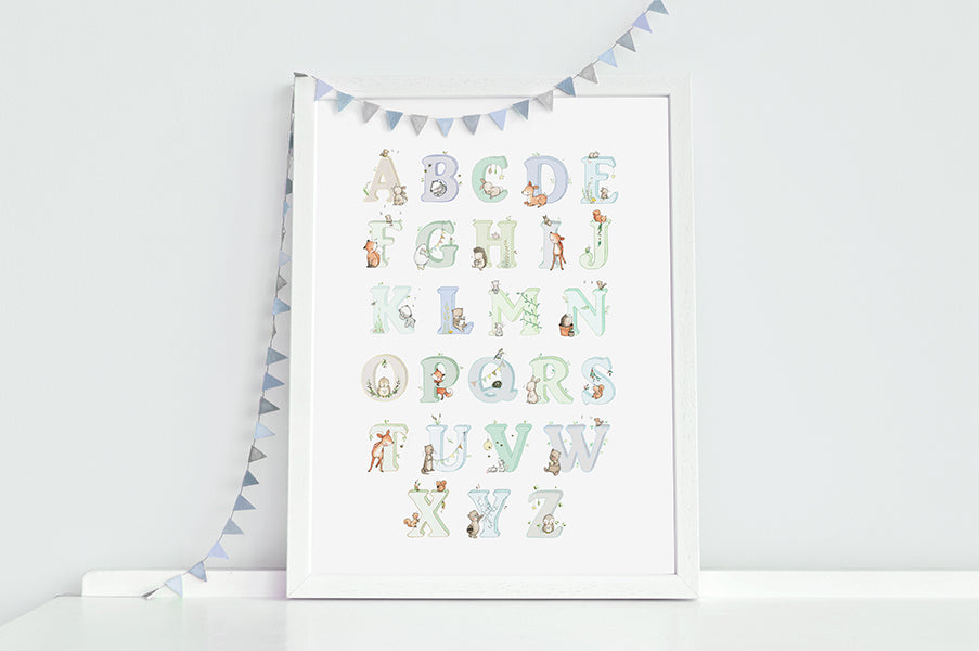 Woodland Alphabet Wall Picture for Boy's Room