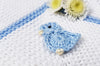 Three Little Ducks Blue baby cotton knit blanket