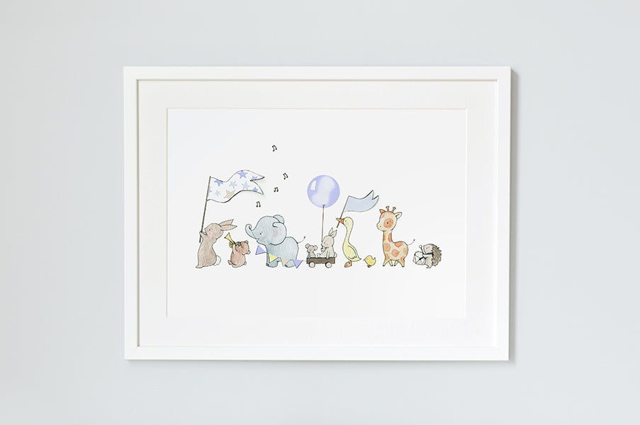 Boy's Blue Personalised Animals On Parade Print