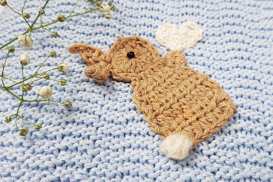 Baby blue cotton knitted Bunny Blanket