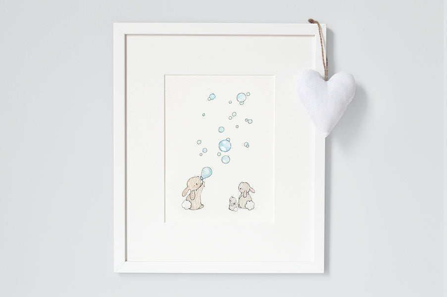 Blue Bunnies & Bubbles Print for a Baby Boy Nursery