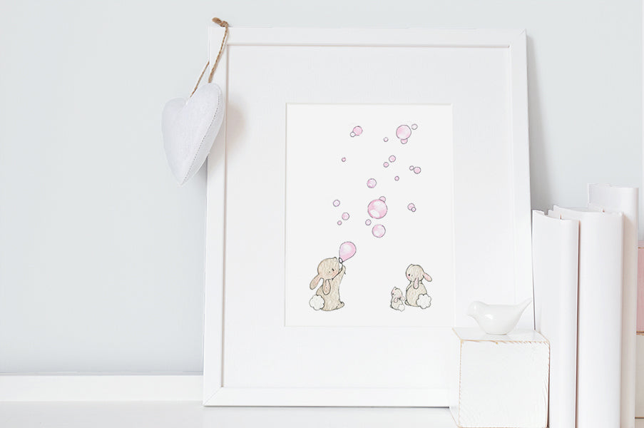 Baby Girl Pink Bunnies & Bubbles Nursery Art