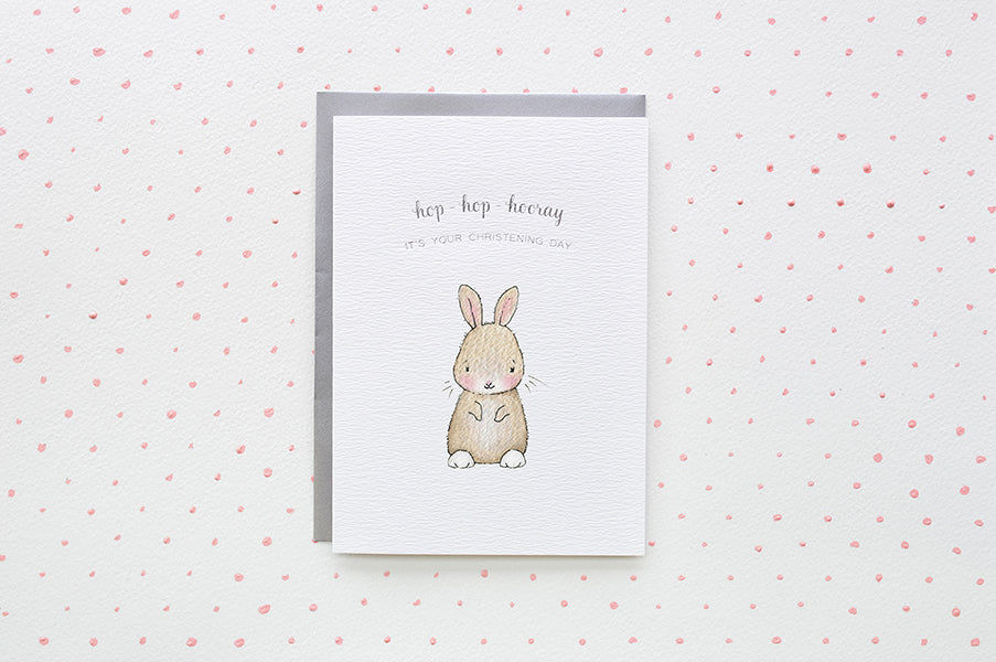 Hop-hop-hooray it's baby's Christening Day Card