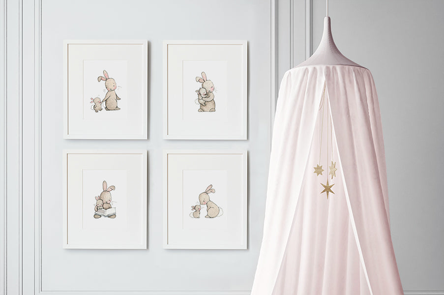 Girl's Bunny Love Nursery Artwork Set