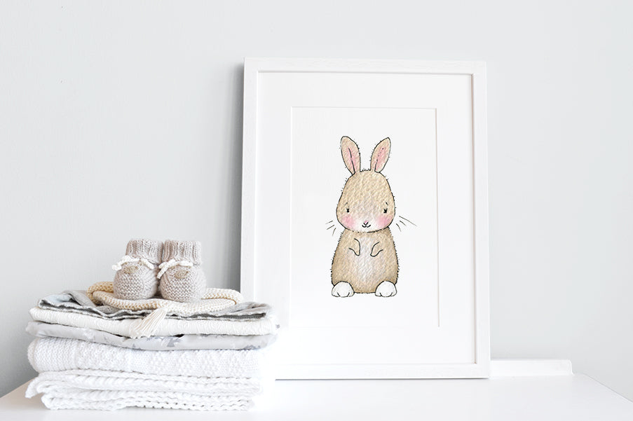 Newborn Baby Bunny Nursery Decor Print