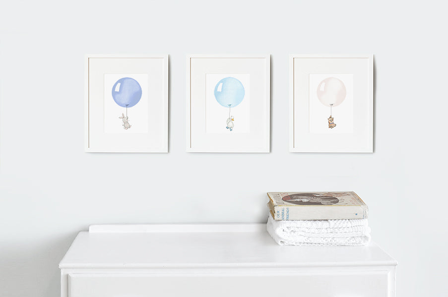 Classic Blue Balloon Set Of Nursery Prints
