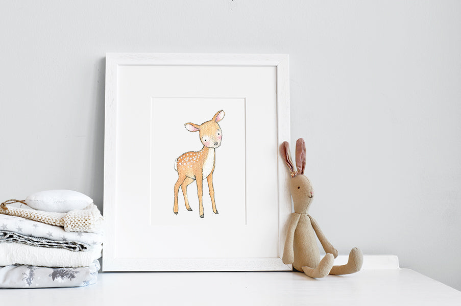 Newborn Baby Deer Print for Woodland Nursery Decor