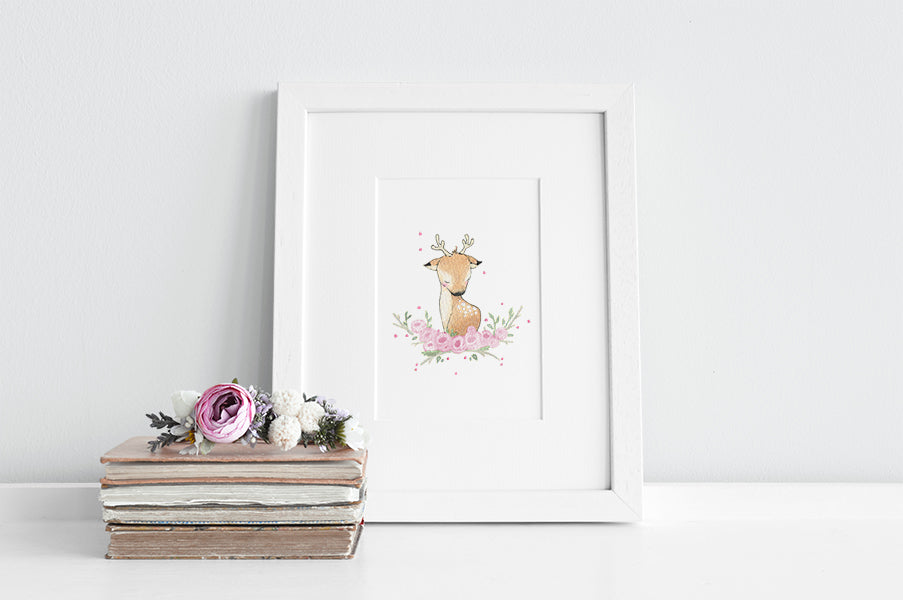 Girl's Floral Deer Nursery Decor Print