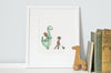 Dinosaur Dragon Wall Art Print for Child's Bedroom
