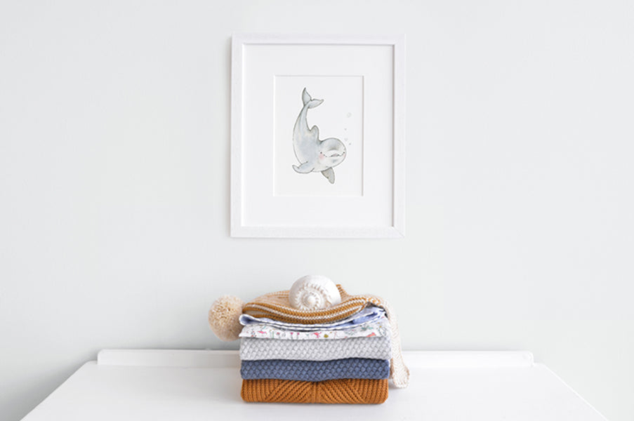 Newborn Baby Dolphin Nursery Art Picture