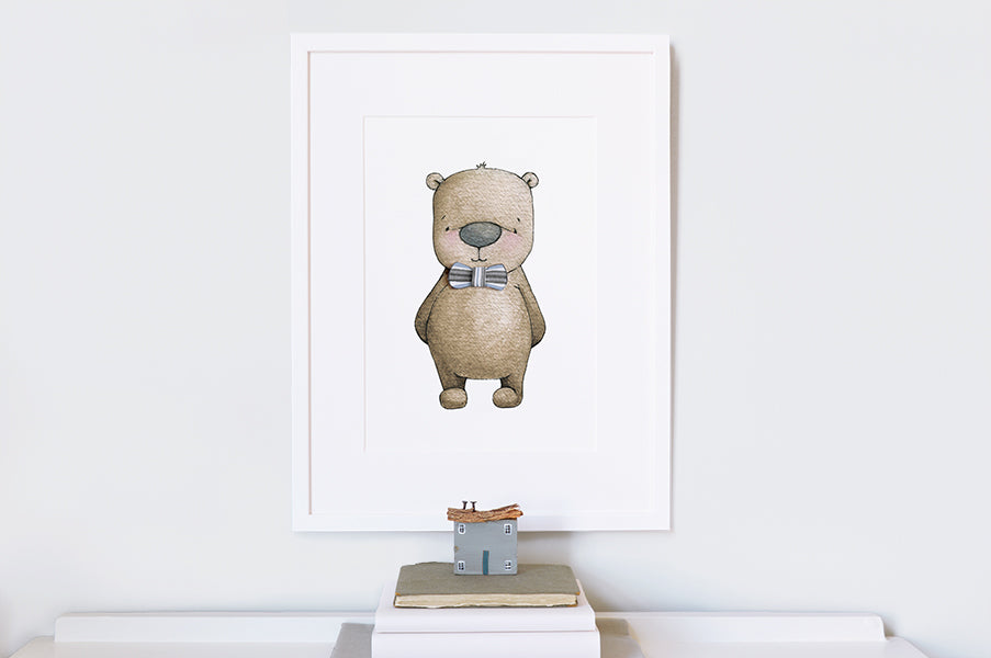 Boy's Dressed in His Best Bear nursery print