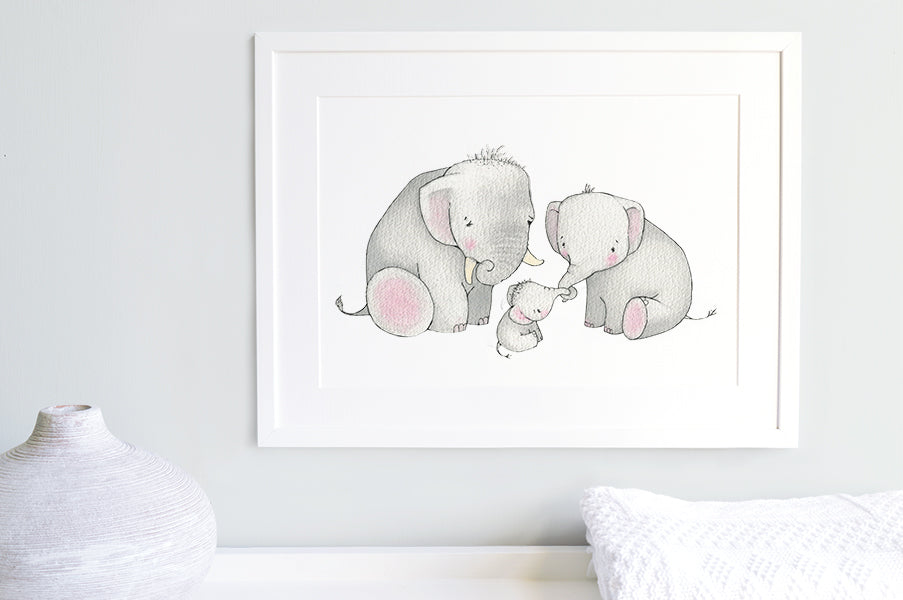 Children's Illustrated Elephant Family Picture