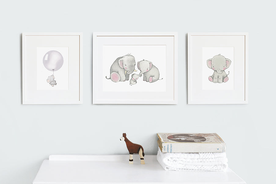 Baby Elephant Nursery Wall Art Set