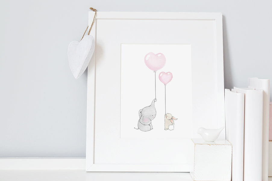 Children's Elephant and Rabbit Best Friends Picture