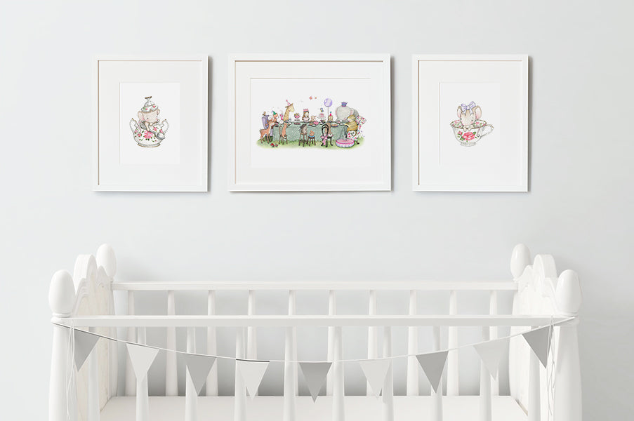 Enchanted Tea Wall Art Set for Girl's Bedroom