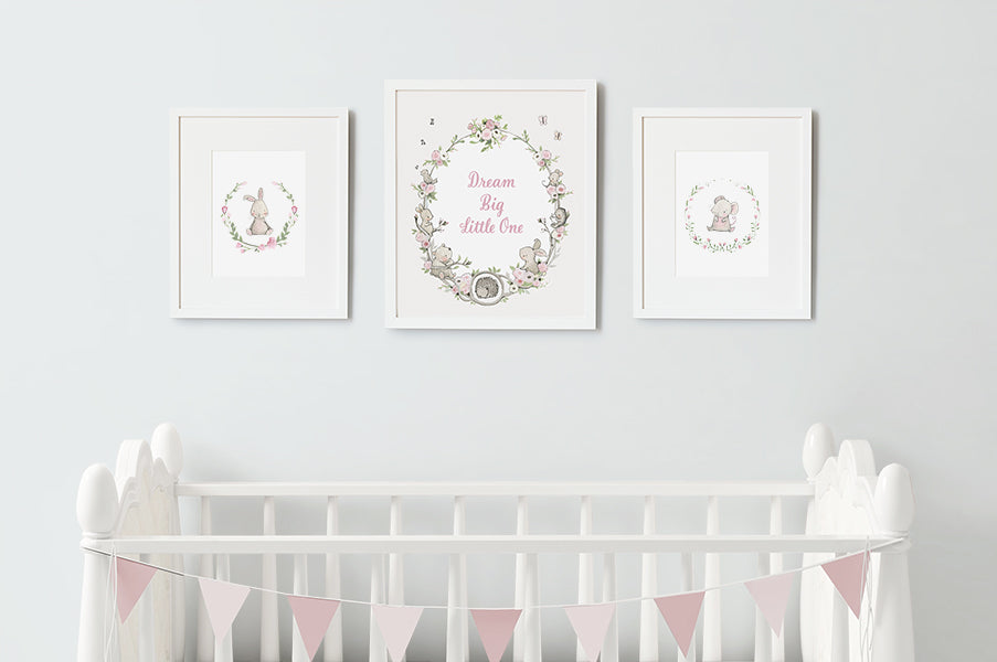 Illustrated Floral Set of Girl's Bedroom Prints