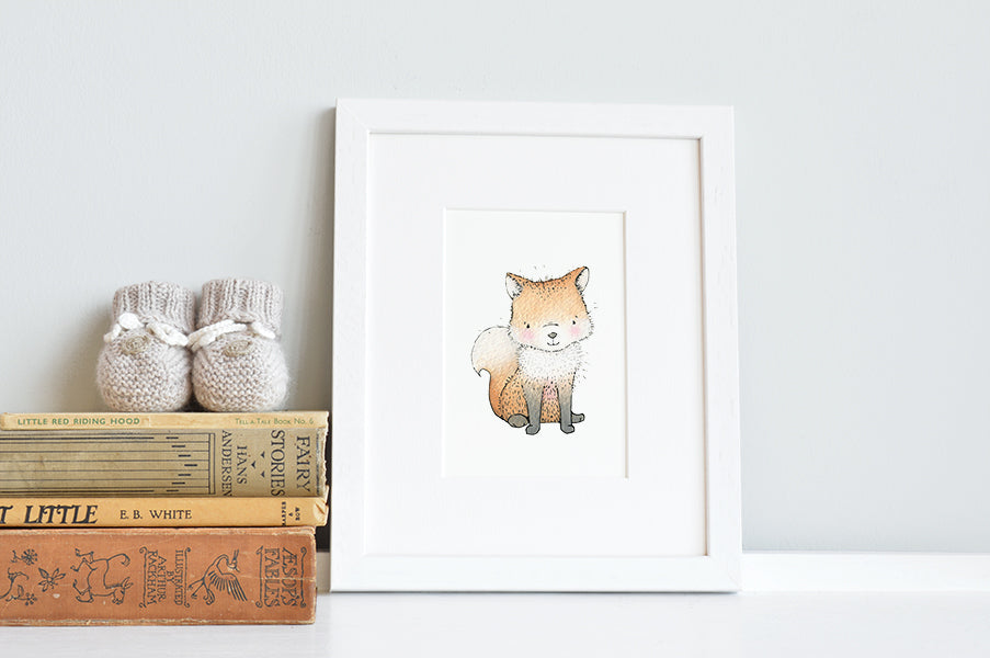 Newborn Baby Fox Nursery Art Print