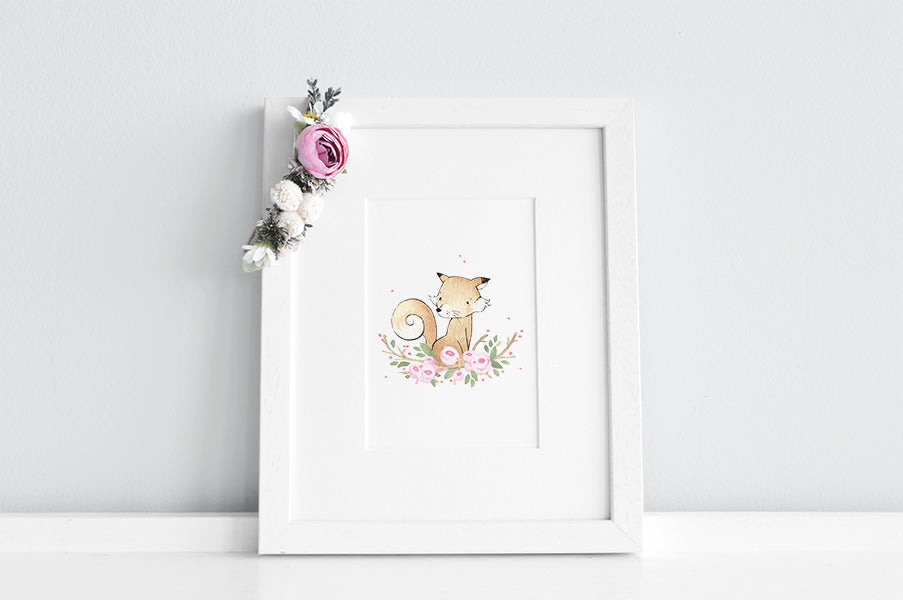 Girl's Floral Fox Nursery Decor Print
