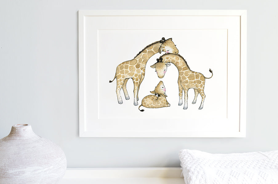 Cute Giraffe Family Nursery Picture
