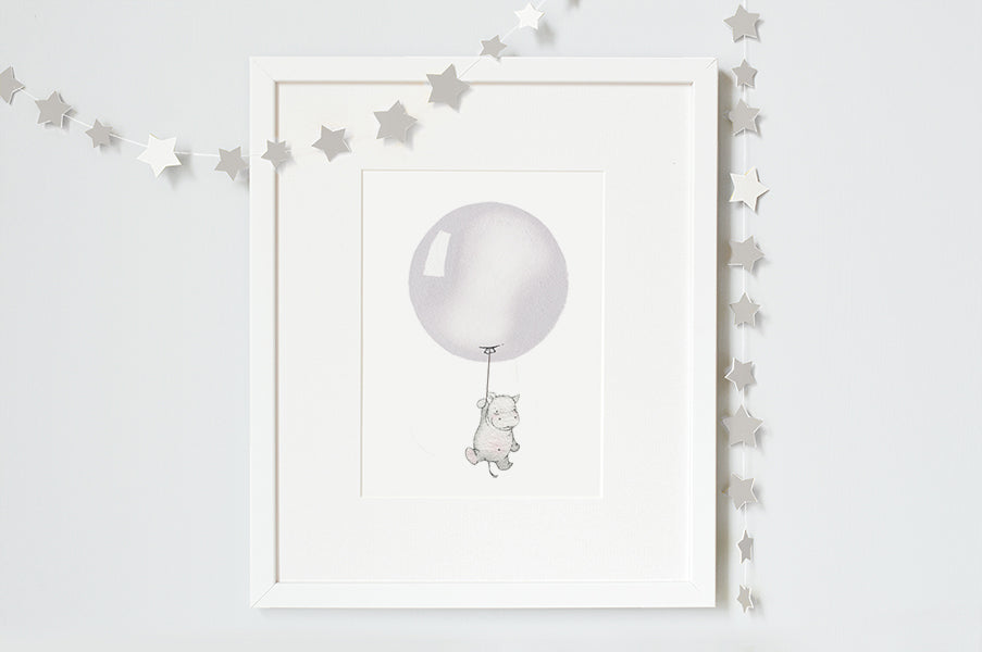 Gender Neutral Grey Round Balloon Nursery Art Print