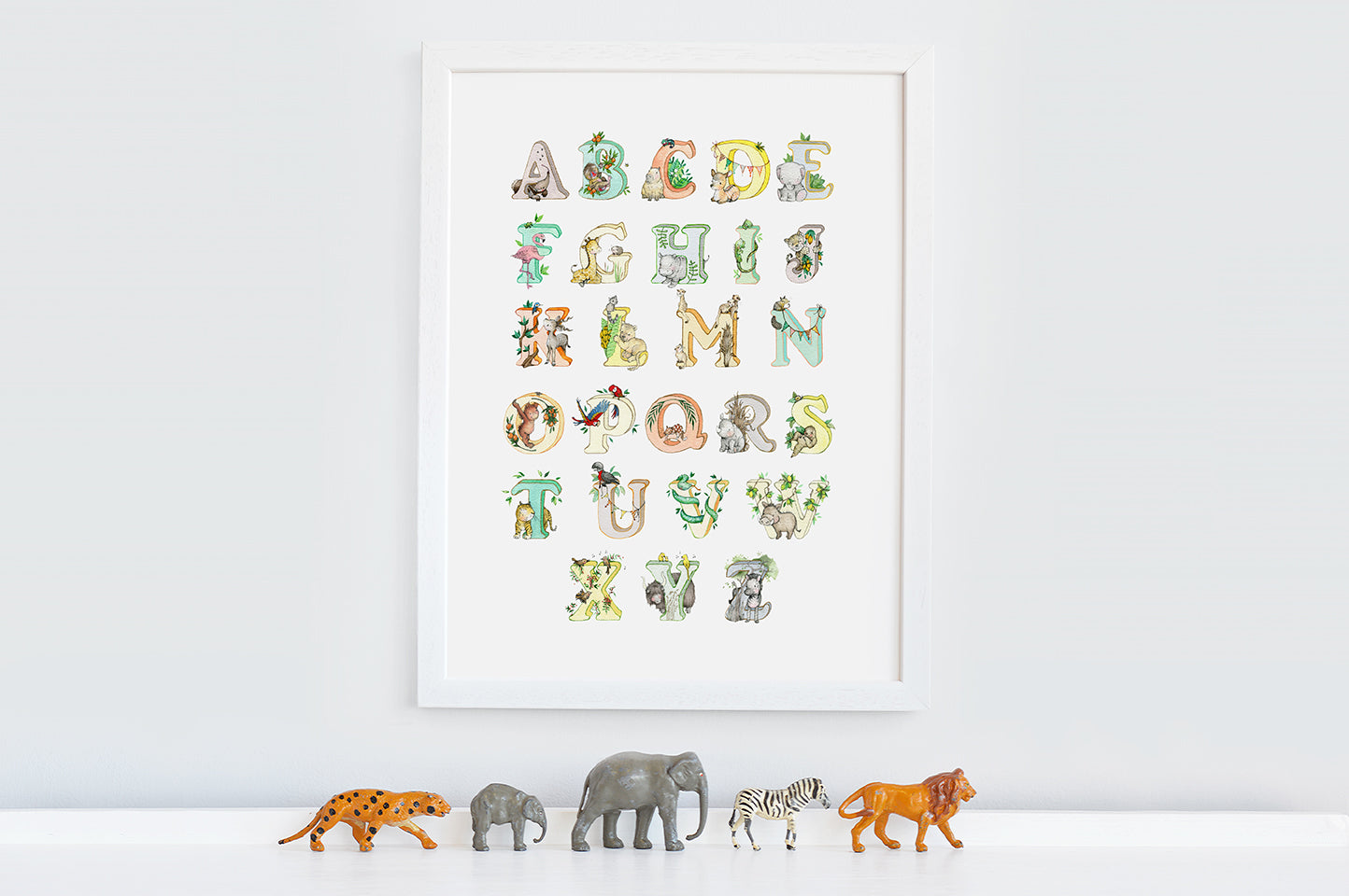 Bright Jungle Animal Alphabet Wall Print for Kid's Room