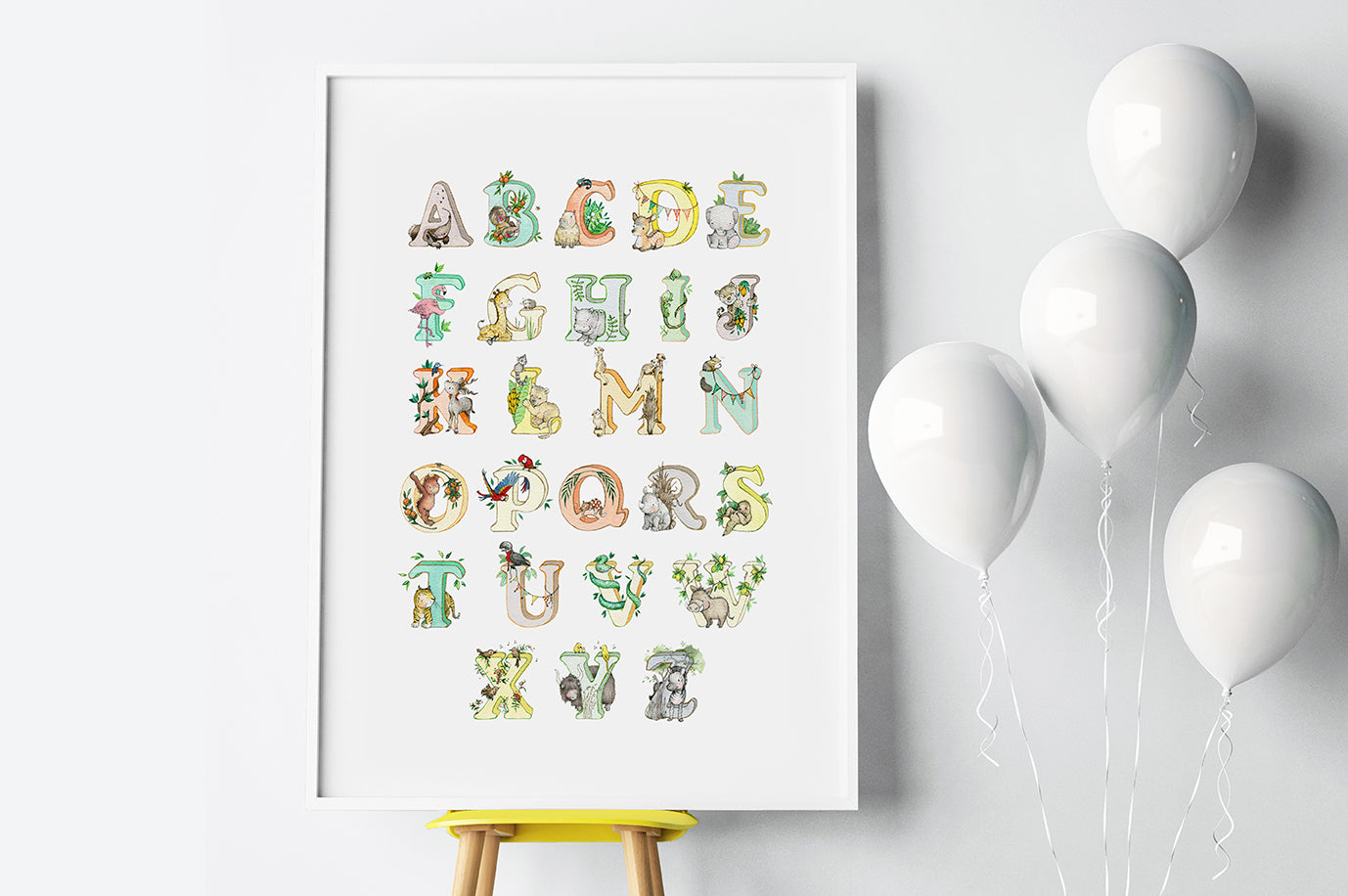 Kid's Bright Jungle Alphabet Big Wall Picture