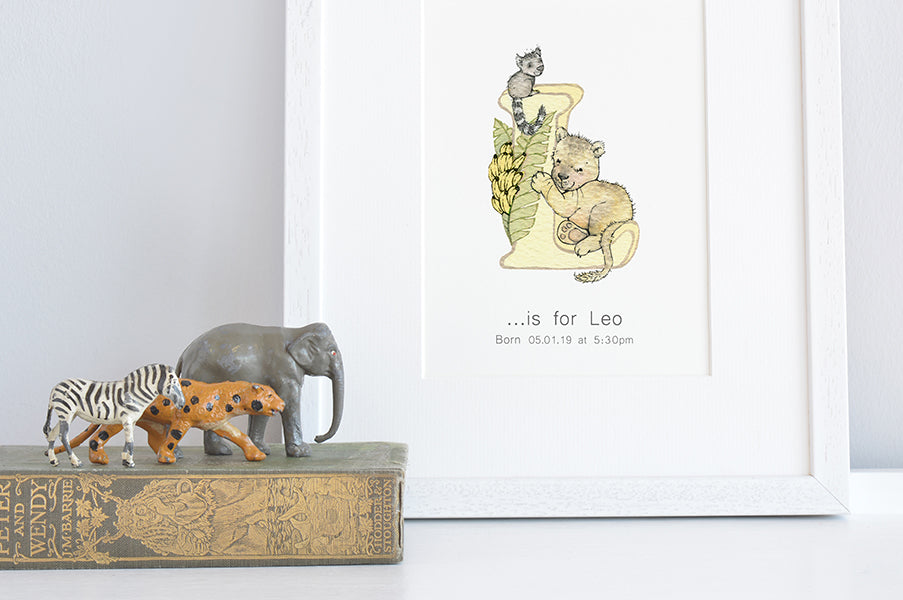 Personalised Kid's Neutral Safari Jungle Animal Letter Print