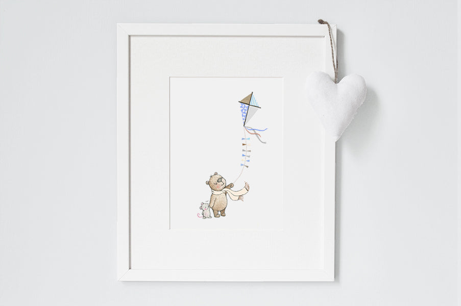 Illustrated Flying Paper Kite Children's Print