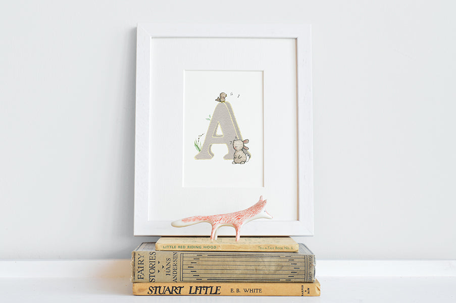 Personalised Neutral Children's Woodland Letter Print
