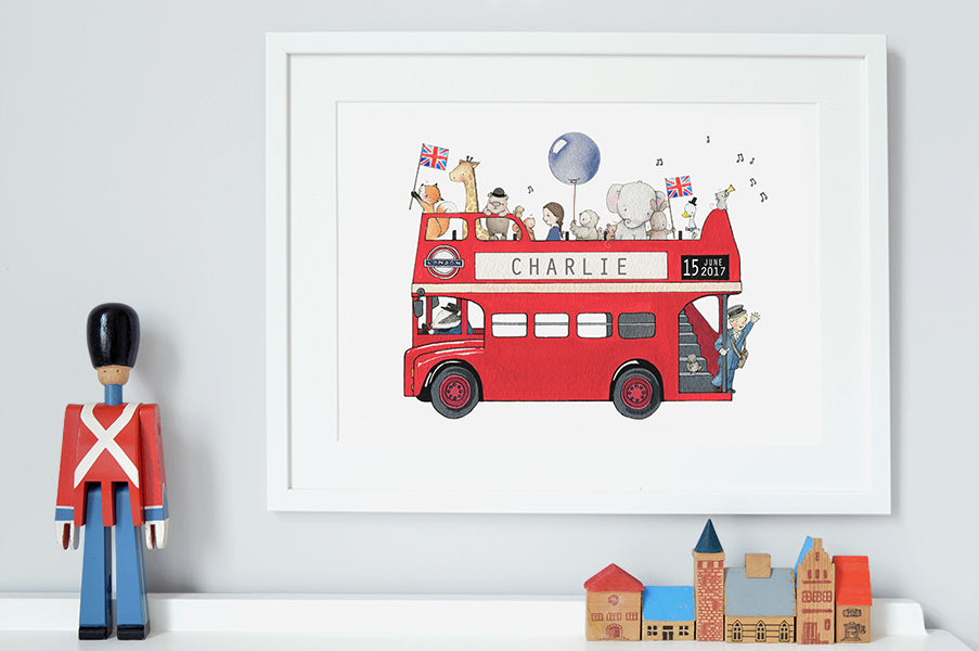 Children's Personalised Red London Bus Picture
