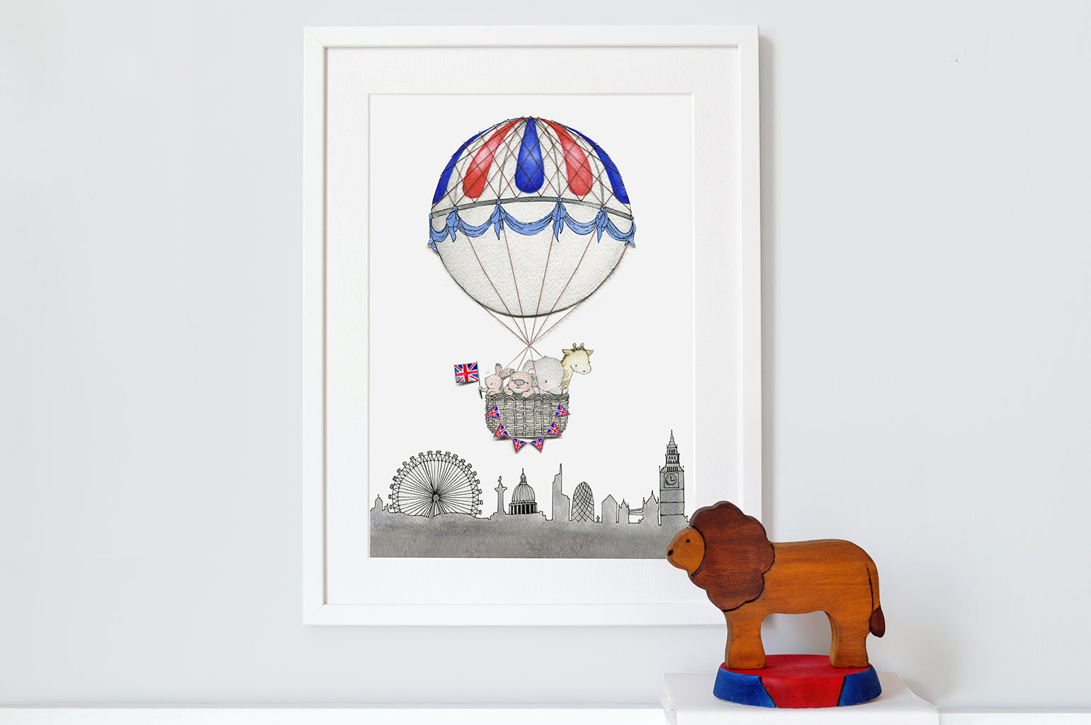 Kid's London Skyline Balloon Journey Art Print