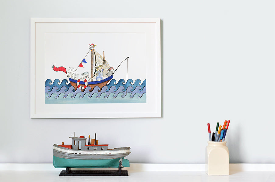 Personalised Boat at Sea Children's Picture
