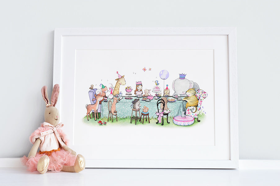 Girl's Personalised Enchanted Tea Party Picture