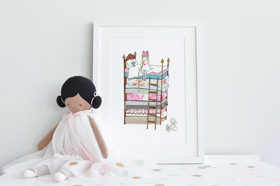 Girl's Personalised Princess and the Pea Picture