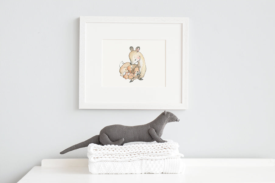 Mother and Baby Deer Nursery Wall Print