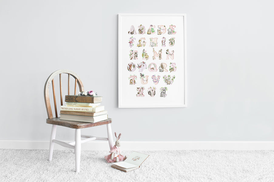 Girls Big Pink Jungle Animal Alphabet Print