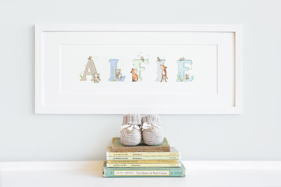 Boy's Personalised Framed Woodland Name Picture