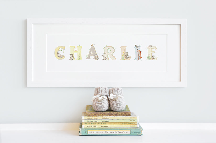 Children's Neutral Personalised Woodland Name Framed Print
