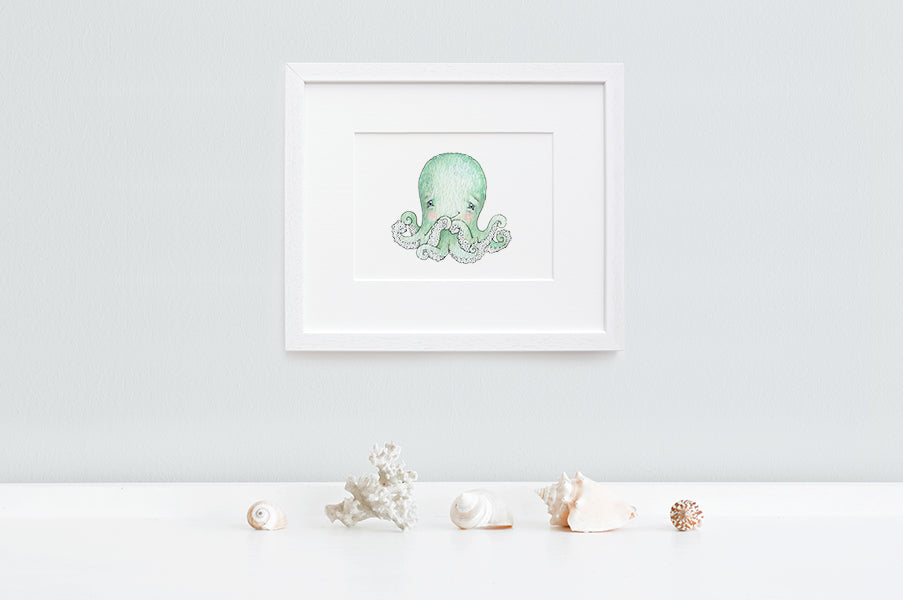 Newborn Baby Octopus Nursery Art Print