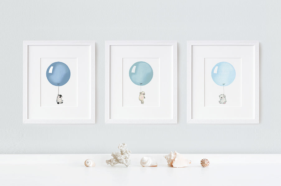 Ocean Balloon Set of Nursery Prints