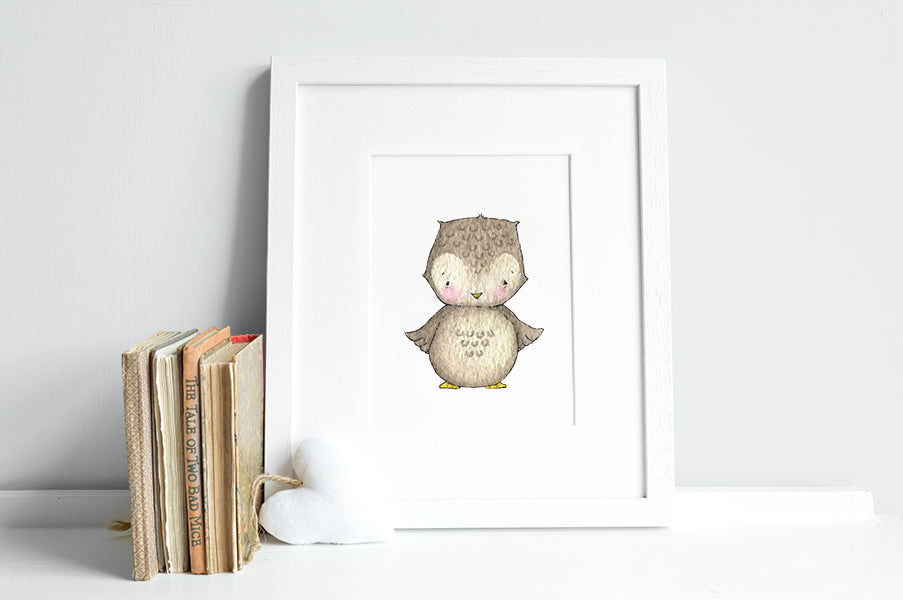 Newborn Baby Owl Nursery Wall Picture